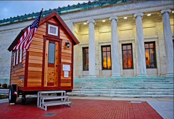 tiny house outside the Toledo Museum of Art