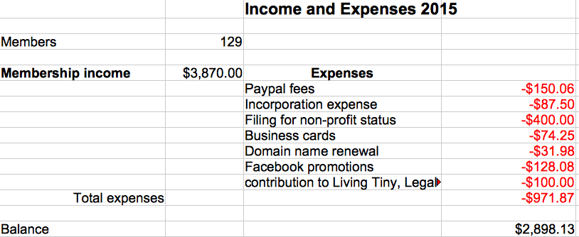 photo of spreadsheet showing income and expenses 2015