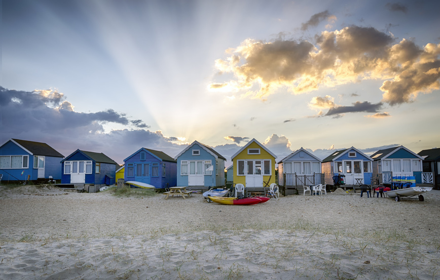 Beach huts at Hengistbury Head near Bournemouth in Dorset